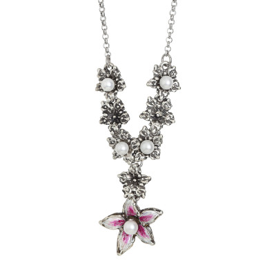 Y necklace in burnished silver with lilium flowers and natural pearls