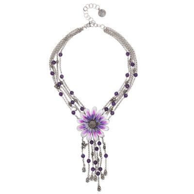 Multi-strand necklace in burnished silver with hand-painted central daisy, fringes and amethyst