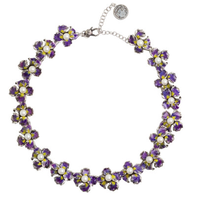 Necklace with iris flowers in hand-painted burnished silver and natural pearls