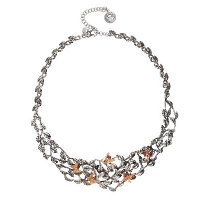 Necklace decorated with olive leaves in burnished silver and rose gold plated butterflies