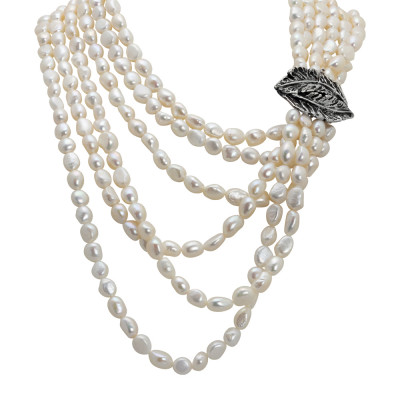 Multi-strand necklace with natural baroque pearls and burnished silver feather leaf.