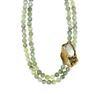Rutilated green double threaded garnet necklace, carp and decoration of gilded silver water lilies