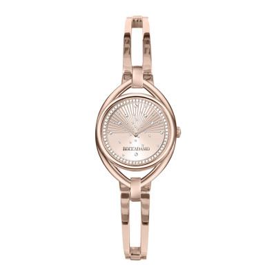 Rose woman time only watch with semi-rigid bracelet and Swarovski