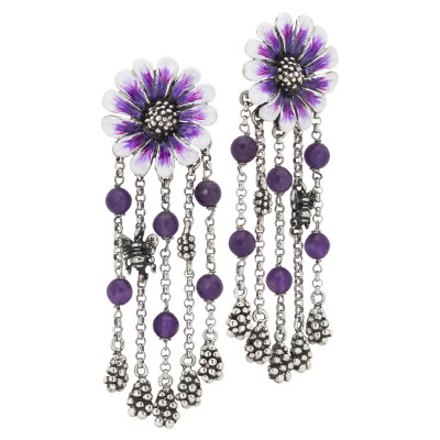 Silver daisy earrings hand painted with a tuft of pendants and amethyst crystals