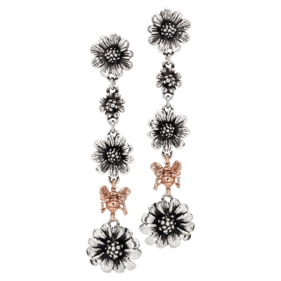Drop earrings with daisies in burnished silver and rose gold plated apina