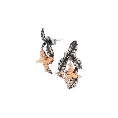 Earrings with brown olive leaves and rose gold plated butterfly
