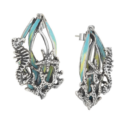 Marina earrings with hand-painted decoration