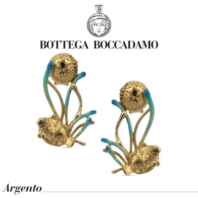 Yellow gold plated earrings with light blue enameled anemones