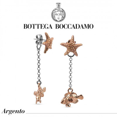 Double two-tone earrings with starfish and pendant