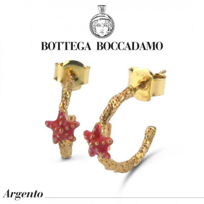 Yellow gold-plated hoop earrings with coral-colored starfish