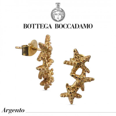 Yellow gold-plated horizontal stud earrings with starfish