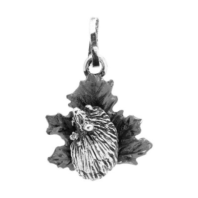 Charm with hedgehog on maple leaf