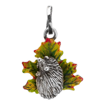 Charm with hedgehog on hand-painted maple leaf