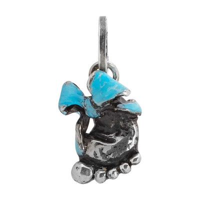 Hand-painted blue foot charm