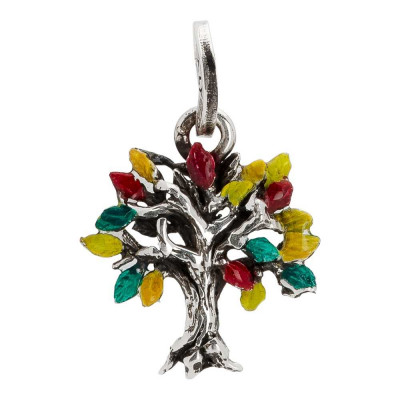 Charm with tree of life painted in the colors of summer