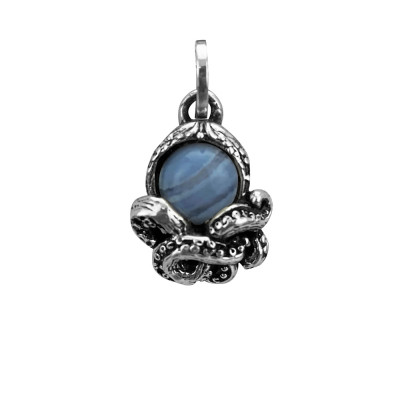 Octopus charm with blue lace agate