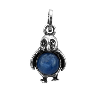 Penguin charm with kyanite