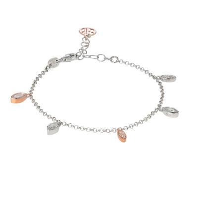Bracelet with pendants bicolor of zircons brilliant cut
