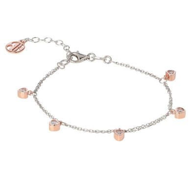 Bracelet bicolor with zircons to heart
