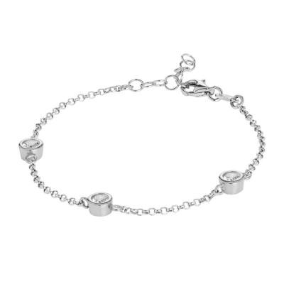 Bracelet with loops of zircons diamond cut
