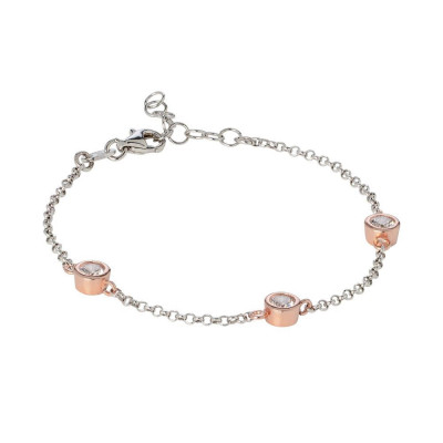 Bracelet bicolor with loops of zircons diamond cut
