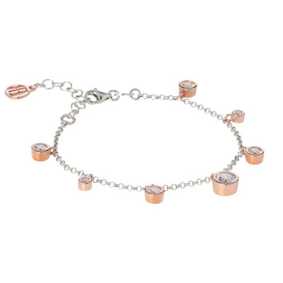 Bracelet bicolor with pendant of zircons diamond cut