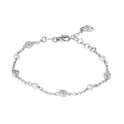 Bracelet with loops of zircons and Swarovski beads