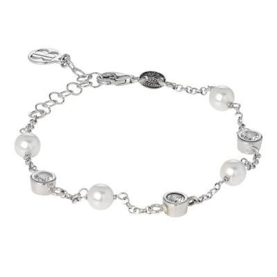 Bracelet with loops of zircons diamond cut and Swarovski beads