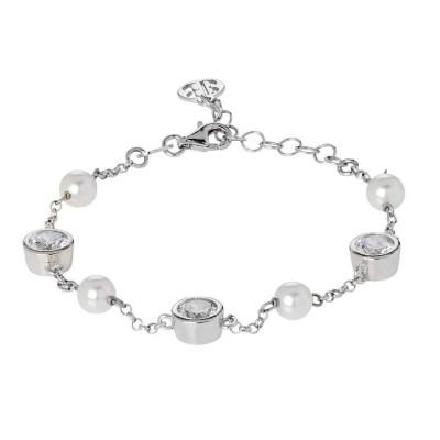 Bracelet with loops of zircons diamond cut and white pearls Swarovski
