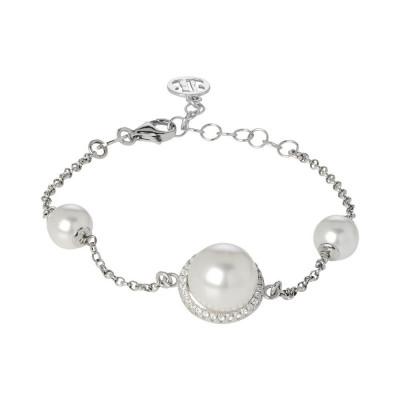 Bracelet with white pearls Swarovski and pavèdi zircons