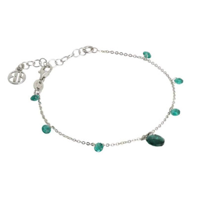 Bracelet with zircons and Swarovski emerald color