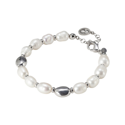 Rhodium plated bracelet with natural pearls