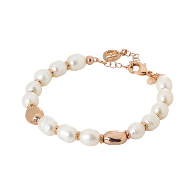 Rose gold plated bracelet with natural pearls and rose gold plated inserts