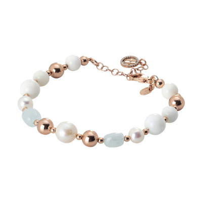 Rose gold plated bracelet with natural pearls, sea water and white agate