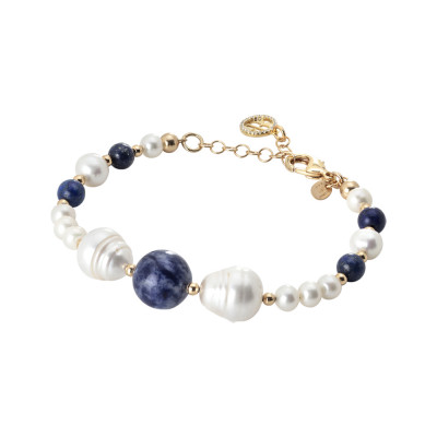Yellow gold plated bracelet with natural pearls, sodalite and lapis lazuli