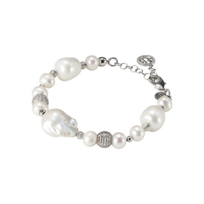 Rhodium plated bracelet with natural and baroque pearls