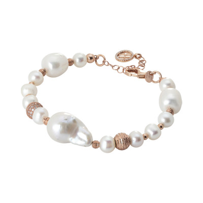 Rose gold plated bracelet with natural and baroque pearls