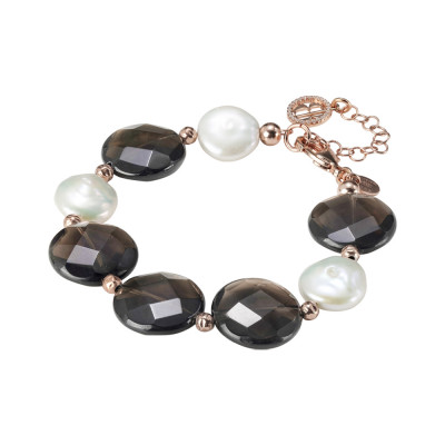 Rose gold plated bracelet with natural pearls and smoky quartz
