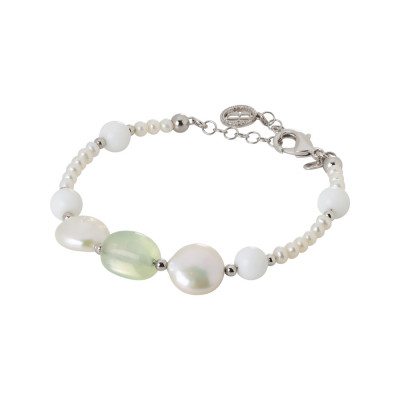 Rhodium plated bracelet with natural pearls, garnet and white agate