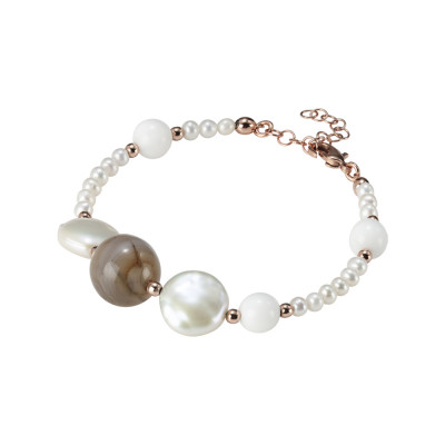 Rose gold plated bracelet with natural pearls, mix brown agate and white agate