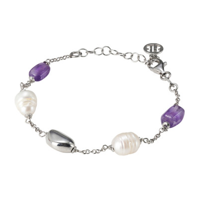 Rhodium plated bracelet with natural pearls and amethyst