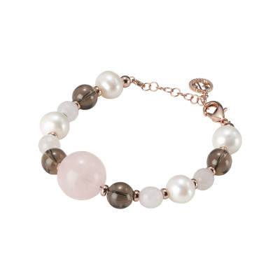 Bracelet with natural pearls, smoky quartz and rose quartz
