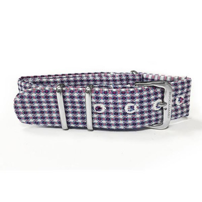 Sartorial strap pied de poule blue, red and white