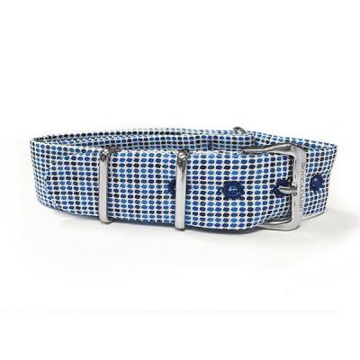 Sartorial strap microquadri blue and white