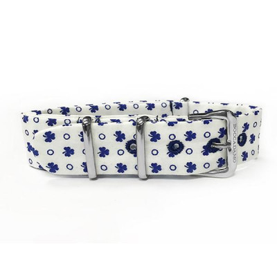 Sartorial strap with blue Clovers