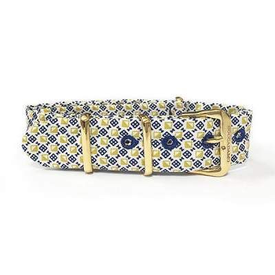 Sartorial strap with micro fantasy yellow and blue and golden buckle