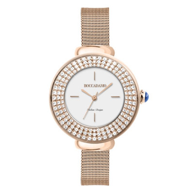 Wrist Watch pink woman with triple thread with Swarovski crystals and cabochon crown