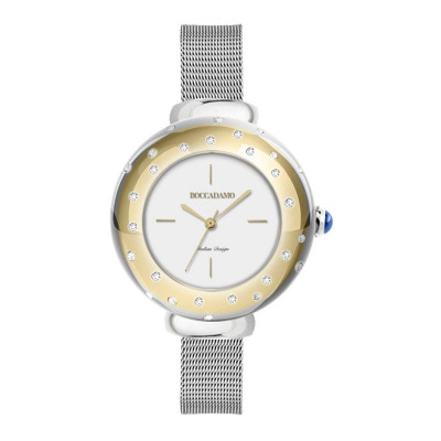 Wrist Watch golden woman, with pink ring and Swarovski, cabochon crown