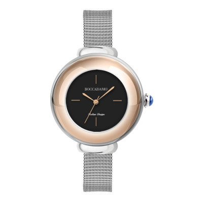 Wristwatch woman with silver dial and cabochon crown