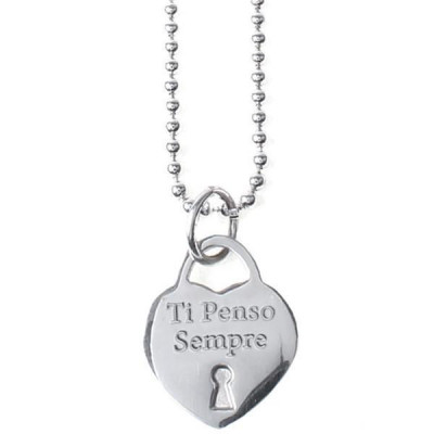 "Long necklace in steel with a pendant in the heart and engraved message ""I always think about you"""
